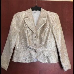 White and gold metallic coat with